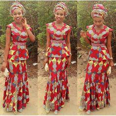 Ankara skirt set/African print blouse and mermaid skirt, african clothing…