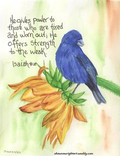 Shawna Wright Art - Isaiah Bible Promise watercolor painting bluebunting on sunflower Bible Verse Art, Bible Verses Quotes, Bible Scriptures, Healing Scriptures, Memory Verse, Bible Prayers, Healing Quotes, Heart Quotes, Wisdom Quotes