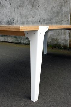 Designed by Think & Shift - www.thinkandshift... Rest Dining Table for Y.S Collective. A 10 person dining table, designed as a bespoke product for a Y.S Collective customer. Materials: Hoop Pine ply, Bent Sheet steel – French White powdercoat.