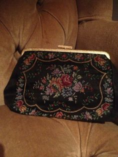 Vintage Black Cross Stitch Floral Clutch With by Thriftnique, $15.00