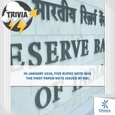 #ChoiceBroking #Trivia - In January 1938, Five Rupee Note was the first paper note issued by RBI.