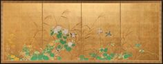 Japanese Screen - Wild Grasses and a Garden Landscape - Mineral pigments on gold leaf.  c.1900
