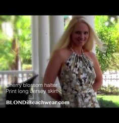 I love this wrapping halter top and skirt I wore in the video shoot, It's so light and comfortable. I could lounge out in it all day long.   Picture from shooting the video for Spring resortwear at www.BlondiBeachwear.com  Watch the video: http://youtu.be/8GxxbKVbABY #fashion #style #clothing #resortwear #florida #ootd #fashionblogger #printskirt #floralskirt #maxiskirt #haltertop