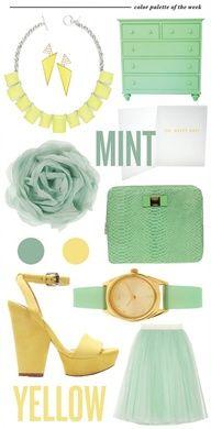 Mint en Geel moodboard, fashion