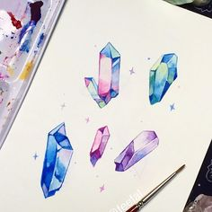 I mean who doesn't like crystal shards, they are objectively perfect Crystal shards! I mean who doesn't like crystal shards, they are objectively perfect Gem Drawing, Desenhos Love, Crystal Drawing, Bullet Journal Art, Cute Drawings, Art Sketches, Art Inspo, Art Reference, Watercolor Paintings