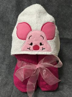 Piglet Hooded Towel In the hoop design by BowsAndClothesDesign