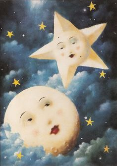 Celestial moon and star Stephen Mackey Limited Edition Print Print Moon Moon, Moon Art, Blue Moon, Stars And Moon, Gold Stars, Stephen Mackey, Art Fantaisiste, Paper Moon, Good Night Moon