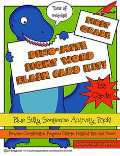 K-1st grade high frequency words with a dinosaur theme, extension activities, and bonus printables. Love!