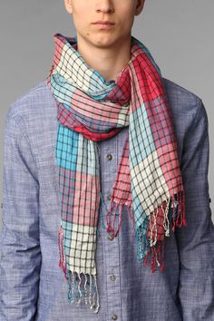 Lightweight Bright Plaid Scarf at Urban Outfitters