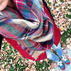Red puffer vest, tartan plaid blanket scarf, distressed jeggings and jcrew new balance tennis shoes