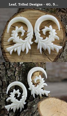 Leaf, Tribal Designs - 4G, 5mm Gauge Stretcher Earrings - Bone Carving Body Piercings, Water Buffalo Bone. 4 Gauge, 5mm / 45mm x 27mm / 1.8 x 1.2 inches / Material - Water Buffalo Bone.