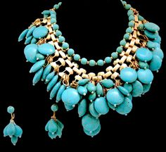Signed Anka Faux Turquoise Necklace & Earrings | Jeweldiva