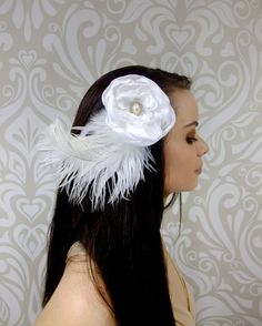 White Satin Bridal Fascinator White Flower and by RuthNoreDesigns