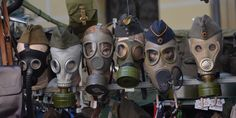 Máscaras de gas.