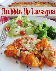 Bubble Up Lasagna: Cook 1lb Italian sausage meat or ground beef; drain. In bowl, combine 1c (from 24oz jar) pasta sauce, 1c ricotta, 1/2c shredded parmesan. Cut each Pillsbury Grands Jr. biscuit (from 12oz tube) into eighths; combine with sauce mixture; then spread into greased 9X13 dish. Add remaining jarred sauce to cooked meat; spread over biscuits. Sprinkle 2c mozzarella. Bake @ 375 25-30min.