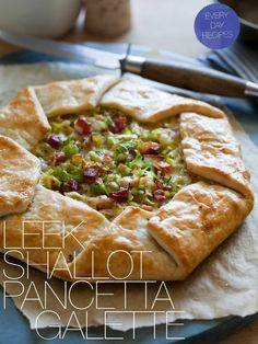 would phyllo dough work for the crust?   http://www.spoonforkbacon.com/2012/04/caramelized-leek-shallots-pancetta-galette/