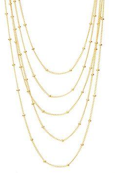 Rafia Five Strand Beaded Ball Chain Necklace