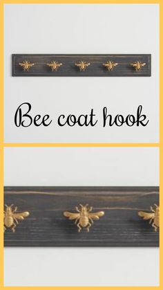 Buzzing with on-trend bee style, our whimsical wall rack features an antiqued black finish, handsome beveled edging and a row of five brilliant gold bee hooks. I Love Bees, Bee Gifts, Bee Art, Wall Racks, Save The Bees, Bee Happy, Bees Knees, Queen Bees, Bee Keeping