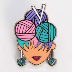 Limited edition yarn diva enamel pins by expression fiber arts Crochet Fish, Crochet Leaves, Crochet Yarn, Knitting Humor, Crochet Humor, Handmade Clothes, Handmade Bags, Expression Fiber Arts, Knit Basket
