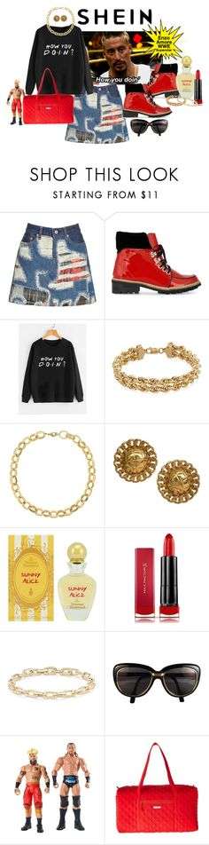"""""""SheIn slogan print Pullover - How you doin?"""" by susan-993 ❤ liked on Polyvore featuring Junya Watanabe, Ganni, Laundry by Shelli Segal, Chanel, Vivienne Westwood, Max Factor, David Yurman, Cartier and Vera Bradley"""