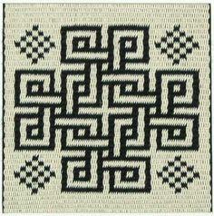 Marijke van Epen -Double faced tablet weaving, each 12 x 12 centimeters