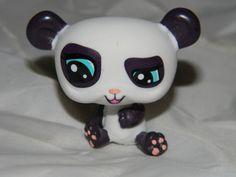 Littlest Pet Shop LPS #1413 DEEP DARK PURPLE & WHITE SMIRKY PANDA Sky Blue Eyes
