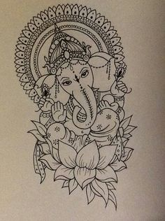 GANESH - widely revered as the remover of obstacles, the patron of arts and sciences and the deva of intellect and wisdom, as well as the god of beginnings. Ganesh is also invoked as patron of letters and learning during writing sessions. Buddha Elephant Tattoo, Elephant Tattoos, Mandala Elephant, Buddha Tattoos, Ganesh Tattoo, Ganesha Drawing, Ganesha Painting, Buddha Drawing, Ganesha Art