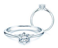 Verlobungsring Heaven 6: Der Solitärring Heaven 6 mit Diamant vereint moderne Eleganz mit klassischer Form, die sich auf das besinnt, was einen eleganten Verlobungsring ausmacht: Das maximal strahlende Leuchten des Diamanten – elegant gehalten von einer 6er Krappenfassung.