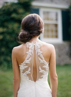Gorgeous illusion back lace wedding dress: http://www.stylemepretty.com/wisconsin-weddings/milwaukee/2016/01/15/elegant-intimate-outdoor-backyard-wedding-in-wisconsin/ | Photography: Kate Weinstein - http://www.kateweinsteinphoto.com/#0