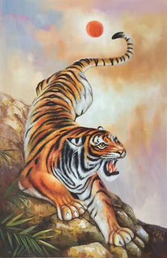 """ID=ap-lh22; size:60x90cm(24""""x36""""inch); 100% hand-made oil painting,decoration,murals,Art,Home Decor,Wall Decor,Abstract,Simple,modern,canvas; Tiger Drawing, Tiger Painting, Tiger Art, Tiger Cubs, Wildlife Paintings, Animal Paintings, Endangered Tigers, Lion Tigre, Japanese Tiger Tattoo"""