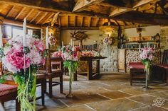 Star Inn Harome Wedding, near Helmsley Yorkshire. Excellent venue for foodies. Ceremony Room with flowers