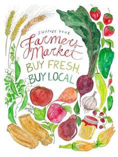 Farmers Market Watercolor Art Print
