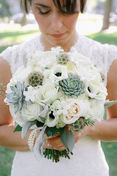succulents wedding flower bouquet, bridal bouquet, wedding flowers, add pic source on comment and we will update it. www.myfloweraffair.com can create this beautiful wedding flower look. #weddingflowers