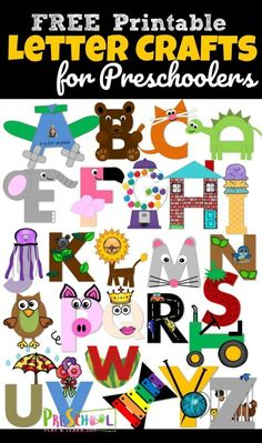 26 adorable alphabet crafts to make to practice uppercase letter recognition. adorable alphabet crafts to make to practice uppercase letter recognition. These letter crafts are NO PREP as you just print, color, cut, and Preschool Letter Crafts, Alphabet Letter Crafts, Abc Crafts, Preschool Learning Activities, Uppercase And Lowercase Letters, Letter Activities, Toddler Preschool, Free Printable Alphabet Letters, Fun Learning