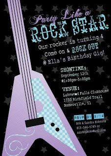 Rock Star Party Invitation