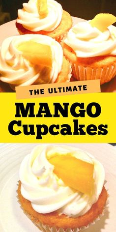 These easy mango cupcakes are wonderful as an easy spring dessert idea made with a boxed cake mix and fresh mango with a buttercream frosting angel food cupcakes with pink lemonade frosting Mango Dessert Recipes, Cake Mix Recipes, Cupcake Recipes, Baking Recipes, Cupcake Cakes, Easy Mango Pie Recipe, Cup Cakes, Book Cakes, Cupcake Flavors