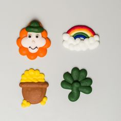 """1.5"""" Royal Icing St. Patrick's Day Assortment – Wholesale Sugar Flowers Sugar Flowers, Royal Icing, St Patricks Day, Icing Decorations, Gluten Free, Box, Products, Glutenfree, Snare Drum"""