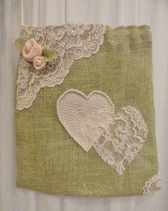 Burlap and lace hearts dollar dance bag