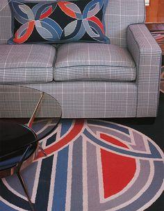 Custom pillow & carpet with custom plaid - Diamond Baratta Desisgn