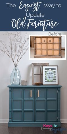 Great and easy tutorial for painting old furniture using Fusion Mineral Paint. I love the color she used - Homestead Blue - with the gold hardware!