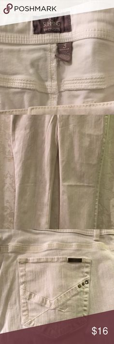 SO SLIMMING by CHICOS Stretch Jeans Size 3: 16 Reg SO SLIMMING by CHICOS Off White Stretch Straight Leg Jeans Size 3: 16 Regular. Waist is 20in.  Thank you for viewing my product. If you have any questions please contact me. Chico's Jeans Straight Leg