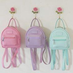Tried this Pin? Girly Backpacks, Cute Mini Backpacks, Trendy Backpacks, Leather Backpacks, Monkey Bag, Pastel Backpack, Fashion Bags, Fashion Backpack, Kawaii Bags