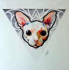 кот, графика, дотворк, sketch, эскиз тату, tattoo, cat, <i>кошками</i> dotwork