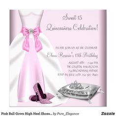 Pink Ball Gown High Heel Shoes Quinceanera Card Pretty pink ball gown and high heel shoes with princess tiara pink Quinceanera birthday party invitation. This pretty pink Quinceanera invitation is easily customized for your party or event. Add your details to the front and back by adding your event details, font style, font size & color, and wording. Please note - all of the invitation designs you will find on Zazzle are printed graphics with no actual jewels, bows, raised, embossed, or…