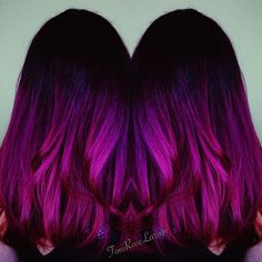 Instense Magenta Hair Color by Toni Rose Larson. Beautiful Color Melt Balayage Ombre Hair Painting design that also includes Violet Hair Color fb.com/hotbeautymagazine