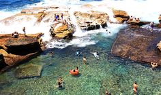 Coogee - Giles Baths rock pool Though there are 4 ocean baths around Coogee Bay, this was the only rock pool developed on Coogee's northern headland. 4 Oceans, Australian Road Trip, Pool Images, Pool Picture, Weekend Activities, Rock Pools, The Rock, Past, Explore