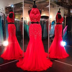 Robe de soiree Fashionable 2 Two Piece Long Prom Dresses 2016 High Collar Off Shoulder Red Lace Evening Gowns Party Dress
