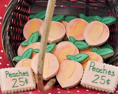 How to Make Peach Cookies. Recipe for peach-flavored cookies and icing. Baby First Birthday, First Birthday Parties, First Birthdays, Birthday Ideas, 13th Birthday, Peach Cookies, Royal Icing Cookies, Sugar Cookies, Cut Out Cookie Recipe