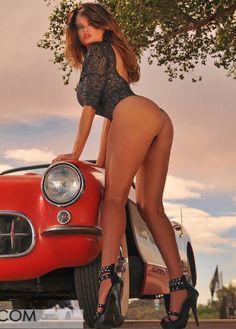 Naked girl on corvette seems me