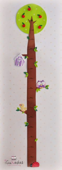 iCukadas: Medidor de pared infantil Felt Crafts, Diy And Crafts, Crafts For Kids, Sewing For Kids, Baby Sewing, Measuring Kids Height, The Giving Tree, Felt Wreath, Art Drawings For Kids